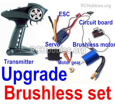 Subotech BG1525 Upgrade Brushless Kit Parts. It includes the Brushless motor, 2.4GHZ Transmitter, Reciever board, ESC, Brushless motor Gear, Servo with Servo arms.